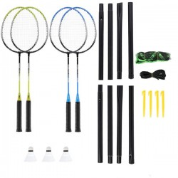 NRZ014 STEEL / ZESTAW DO BADMINTONA 4 RAKIETY + 3 LOTKI + SIATKI 195x22cm  + POKROWIEC NILS